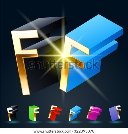 3D vector futuristic luxury alphabet with gold. All symbols in set have 8 random points of view and 6 different colors. Letter F - stock vector