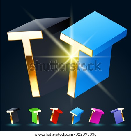 3D vector futuristic luxury alphabet with gold. All symbols in set have 8 random points of view and 6 different colors. Letter T - stock vector