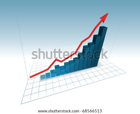 3d vector graph symbolizing growth progress