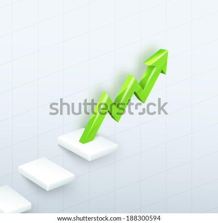 3d vector green arrow graph with steps up on white background - stock vector