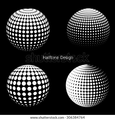 3D vector halftone spheres. Set of halftone vector backgrounds. Halftone design elements
