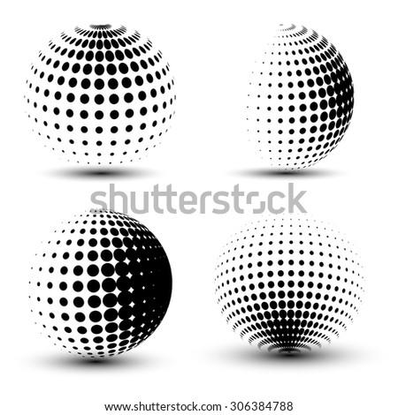 3D vector halftone spheres. Set of halftone vector backgrounds. Halftone design elements - stock vector