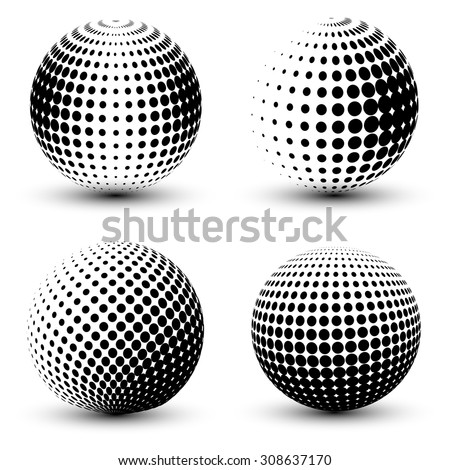 3D vector halftone spheres. Set of halftone vector backgrounds. Halftone design elements - stock vector
