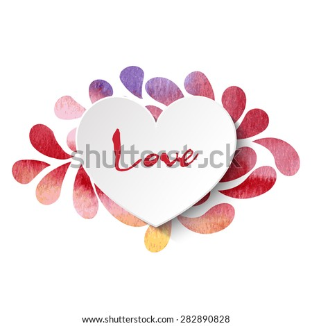 3d vector heart on watercolor splashes background with 'Love' lettering in rainbow colors. Vector illustration EPS10. - stock vector