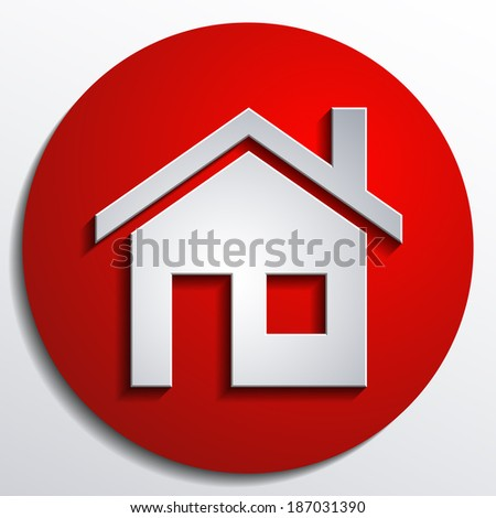 3d vector home icon design with isolated on Red background button - stock vector