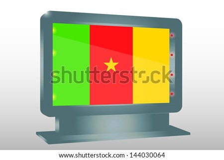 3D Vector Illustration of a Glass Holder isolated with the flag of Cameroon