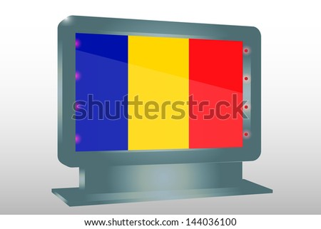 3D Vector Illustration of a Glass Holder isolated with the flag of Romania - stock vector