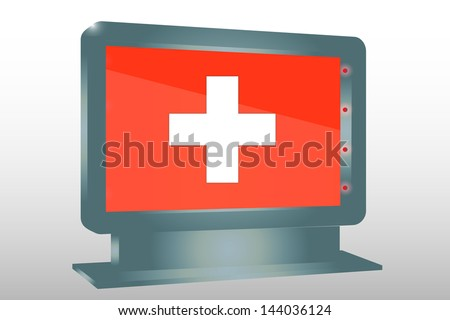 3D Vector Illustration of a Glass Holder isolated with the flag of Switzerland - stock vector