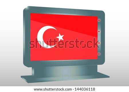 3D Vector Illustration of a Glass Holder isolated with the flag of Turkey - stock vector