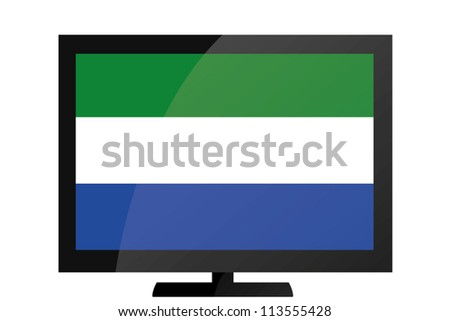 3d Vector Illustration of a TV with the Flag of Sierra Leone - stock vector