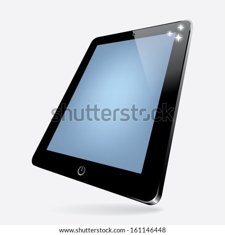 3d vector illustration of black computer tablet with blank screen. vector. eps10 - stock vector