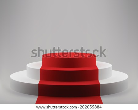 3d vector illustration of podium with red carpet - stock vector