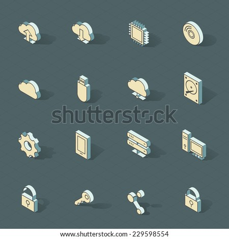 3d vector isometric design icons set. Objects: cloud computing, upload, download, share, connection, computer, server, usb, profile, key  - stock vector