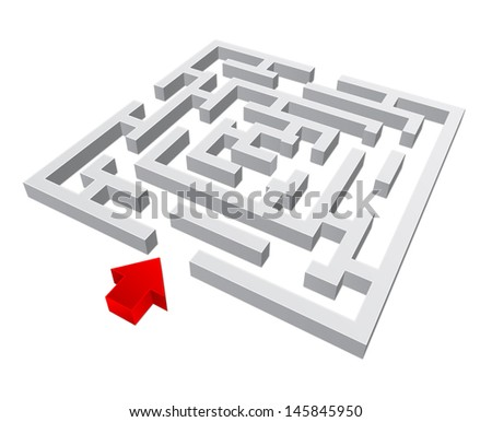 3d vector labyrinth - stock vector