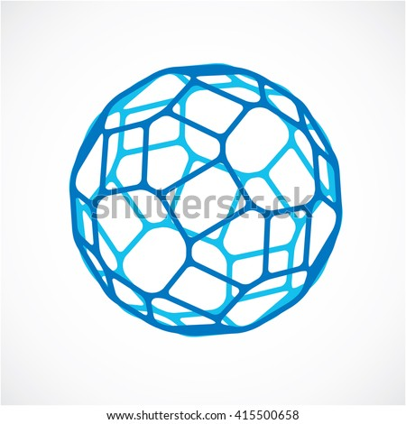 3d vector low poly blue spherical object, perspective orb created with pentagonal facets. Abstract polygonal element for use as design structure on communication technology theme - stock vector