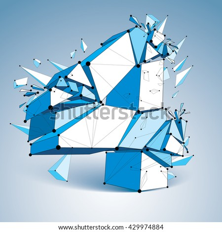 3d vector low poly number 4 with black connected lines and dots, geometric wireframe font with fragment. Perspective shattered thread digit. - stock vector