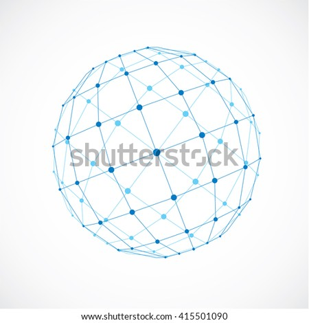 3d vector low poly spherical object with black connected lines and dots, geometric blue wireframe shape. Perspective facet orb created with squares. - stock vector