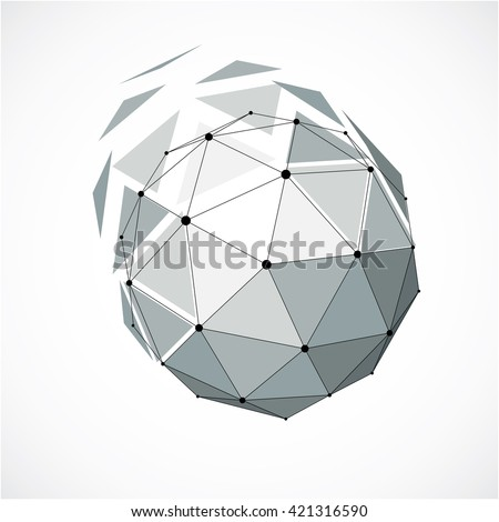 3d vector low poly spherical object with black connected lines and dots, geometric monochrome wireframe shape. Perspective orb created with triangular facets. - stock vector