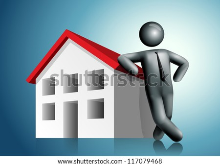 3d vector man leaning house. All elements are layered separately in vector file. Mesh used EPS10 file. - stock vector