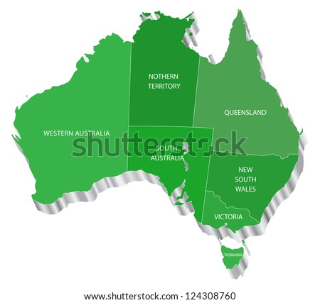 3D vector map of Australia with state. Each State is it's own shape and can be colored to your own preference.