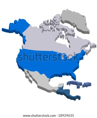 3D vector map of Northern America - stock vector
