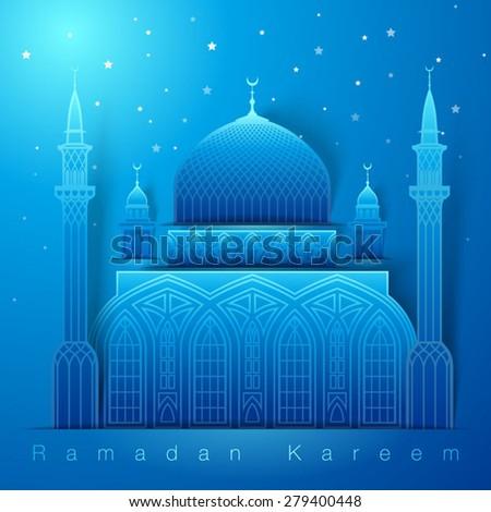 3d Vector Mosque Muslim Night Graphics - stock vector