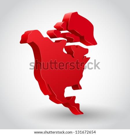 3d vector north america continent illustration - stock vector