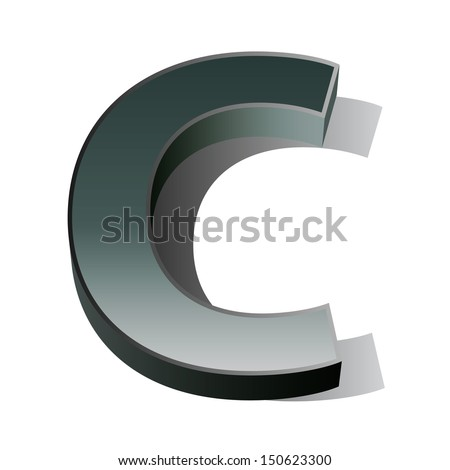 3d vector of the silver letter C on a white isolated background.