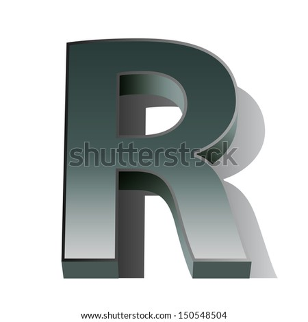 3d vector of the silver letter R on a white isolated background.