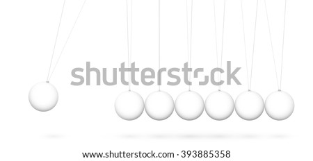 3D Vector Pendulum  - Newton's Cradle - Seven White Pendulum in Raw with Shadow - Isolated on White Background. Panorama, Horizontal Banner. - stock vector