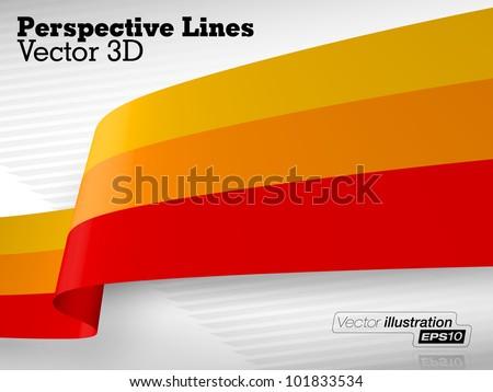 3D Vector Perspective Lines - stock vector