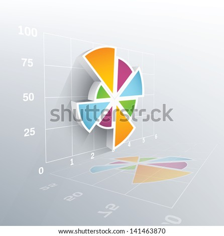3d vector pie chart with grid. Vector illustration. - stock vector