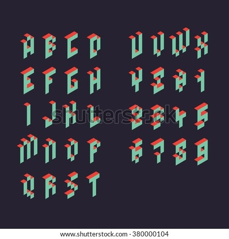 3d vector pixel alphabet and numbers - stock vector