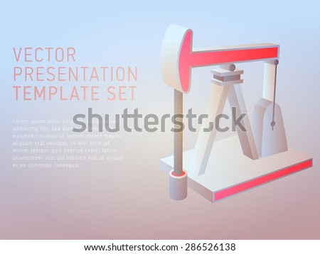3d vector presentation template with oil derrick - stock vector