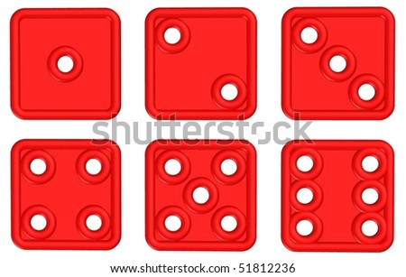 3d vector red dices - stock vector