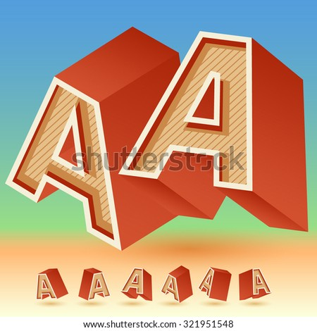 3D vector retro alphabet for summer typography design. All symbols in set have 8 random points of view. Letter A - stock vector