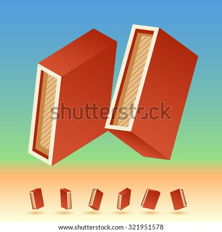 3D vector retro alphabet for summer typography design. All symbols in set have 8 random points of view. Letter I - stock vector