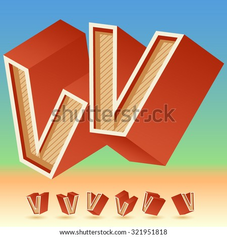3D vector retro alphabet for summer typography design. All symbols in set have 8 random points of view. Letter V - stock vector