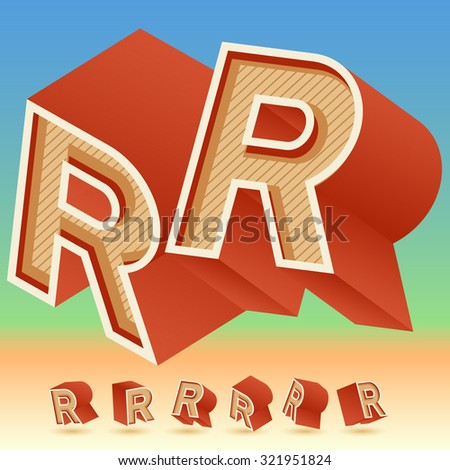 3D vector retro alphabet for summer typography design. All symbols in set have 8 random points of view. Letter R - stock vector