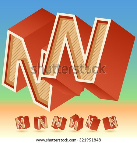 3D vector retro alphabet for summer typography design. All symbols in set have 8 random points of view. Letter N - stock vector