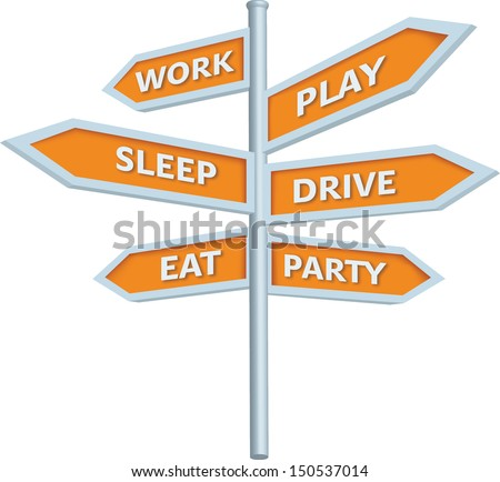 3D vector road sign with daily activities - stock vector