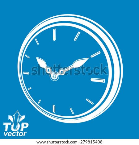 3d vector round stylized wall clock, includes invert version. Time idea classic perspective symbol, eps8 highly detailed vector illustration. Web design element �¢?? dimensional timer. - stock vector