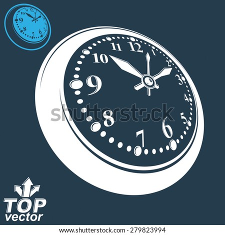 3d vector round wall clock with black dial, includes inverse version. Timer perspective symbol. Elegant graphic dimensional ticker. - stock vector
