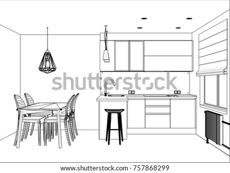 3D Vector Sketch. Modern Kitchen Design In Apartment Interior. Kitchen  Sketch With Decorations And