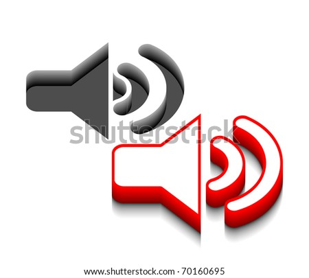 3d vector speaker icon design with isolated on white. - stock vector