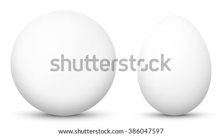3D Vector Sphere and Egg - Side by Side - Geometrical Objects - White, Blank, Basic Surface. Spherical and Egg Shaped Item. Simple Orb and Oval - Isolated on White Background - Each Form in Own Layer.