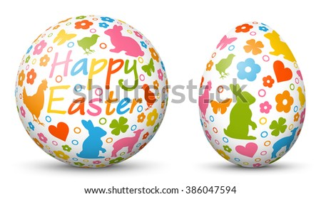 3D Vector Sphere and Egg - Side by Side - Happy Easter - Geometrical Objects Textured with Easter Symbols. Spherical and Egg Shaped Item. Orb and Oval - White Background - Each Form in Own Layer. - stock vector
