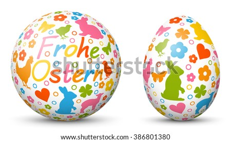 3D Vector Sphere and Egg - Side by Side - Happy Easter - Geometrical Objects Textured with Easter Symbols. Spherical and Egg Shaped Item - Orb and Oval -  Each Form in Own Layer. In German Language. - stock vector
