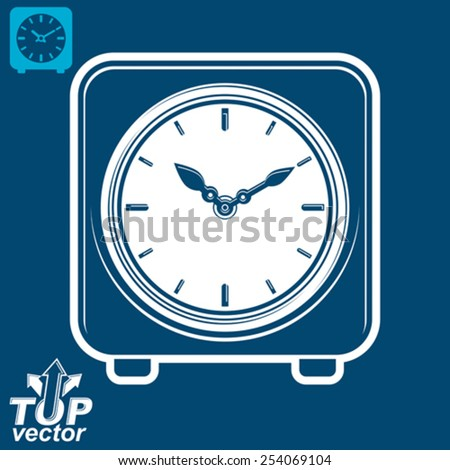3d vector square stylized wall clock, includes invert version. Time idea classic perspective symbol, eps8 highly detailed vector illustration. Web design element dimensional timer. - stock vector
