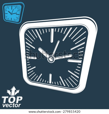 3d vector square wall clock, inverse version included. Time idea perspective conceptual classic symbol. Business time management elegant symbol.  - stock vector